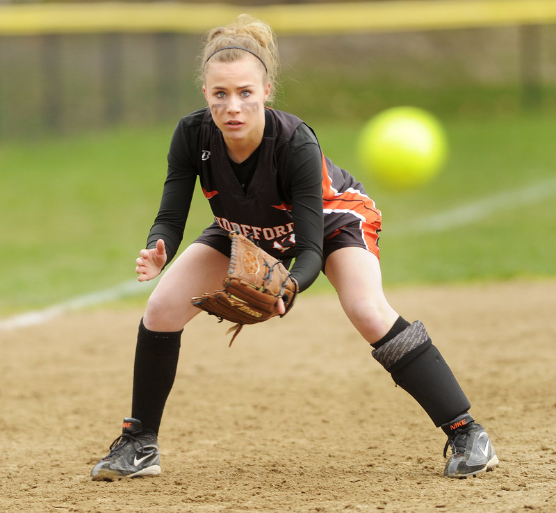 Biddeford third baseman Bryanna Michaud keeps her eye on a ground ball. The Tigers played errorless defense in support of Sarah Gilblair.