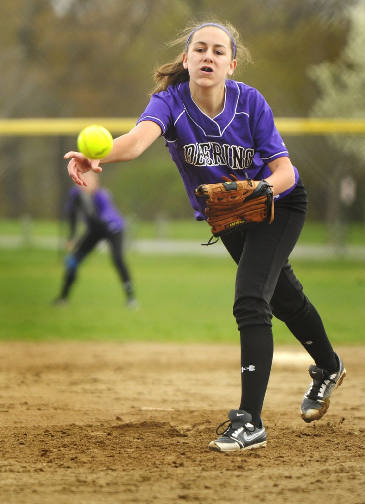 Deering's Kaylee Wheeler delivers a pitch against Biddeford on Friday. Wheeler allowed just six hits, but the Rams produced only one hit in a 5-0 loss.