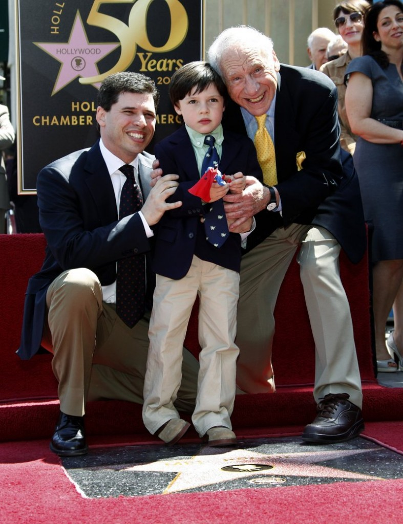 Mel Brooks, 83, right, the comedian, actor and producer, is joined by his son Max and grandson Henry, 5, at dedication ceremonies for the elder Brooks' new Star on the Hollywood Walk of Fame in Los Angeles Friday.