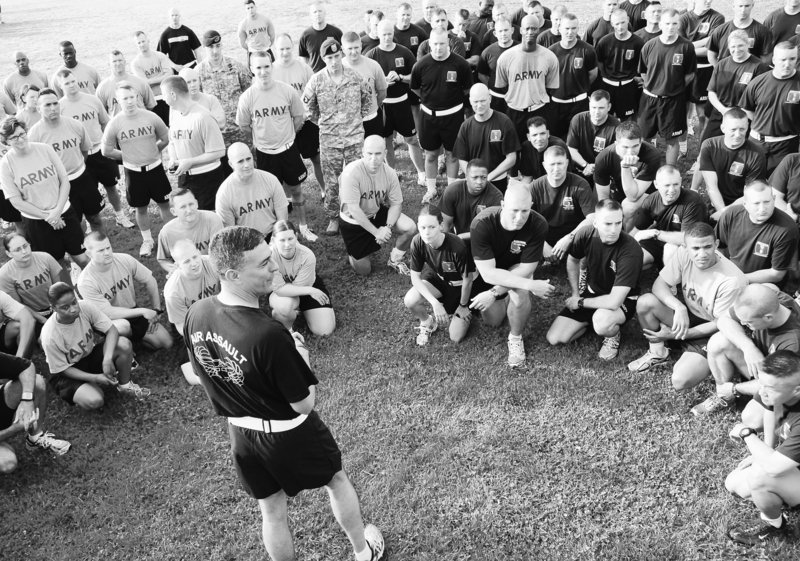 "Brig. Gen. Stephen Townsend, front, speaks to soldiers at Fort Campbell, Ky. ""Suicides on Fort Campbell have to stop now,"" Townsend told the 101st Airborne Division recently."