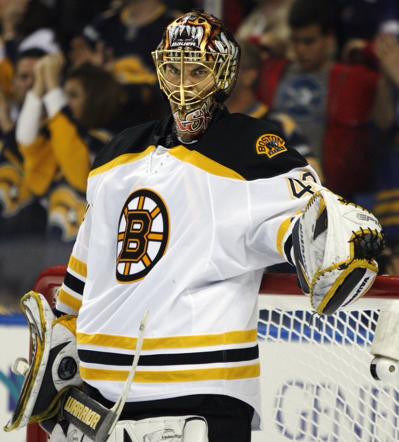 Goalie Tuukka Rask and the Boston Bruins host the Buffalo Sabres tonight trying to wrap up their first-round series with a Game 6 victory.