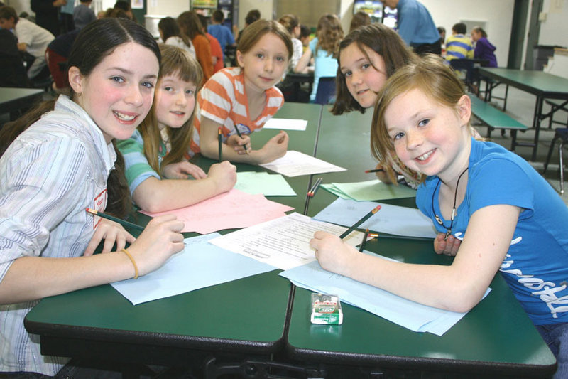 SAD 6 students, from left, Megan French, Kathryn Bearor, Mykenzy Gagnon, Morgan Hauber and Sarah Champagne participate in a team problem solving activity during the 22nd Annual Spring Math Meet at Bonny Eagle High School.