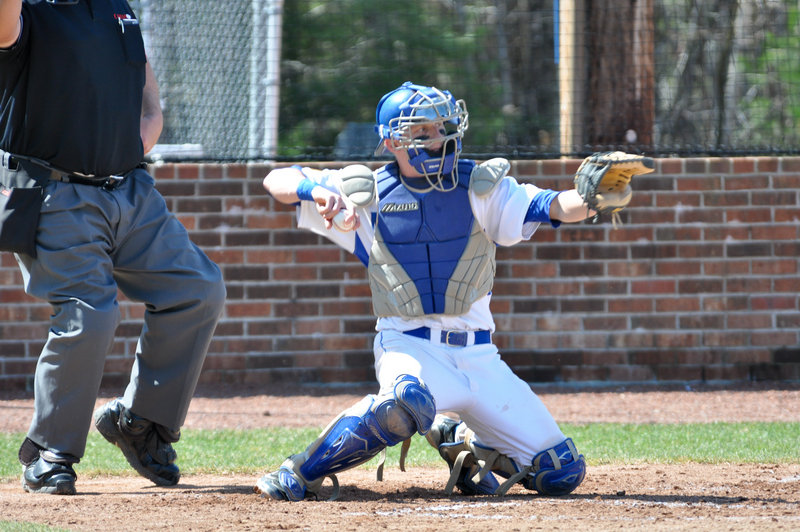 Travis Adams has put in more innings than usual at catcher recently for the St. Joseph's baseball team, taking up slack created by injuries to two other Monks catchers.