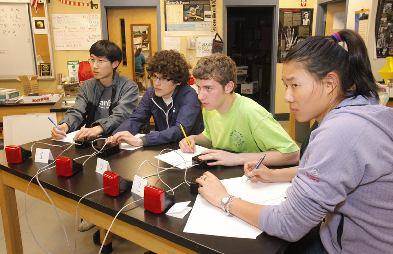 From left, Falmouth High School seniors Ryan Gao, Chadwick Prichard, Benjamin Snowdon and Alyssa Yeung are four of the five students who will be traveling to Washington, D.C. to compete in the National Science Bowl this weekend. The three-year-old team won the Northern New England competition on its first try.