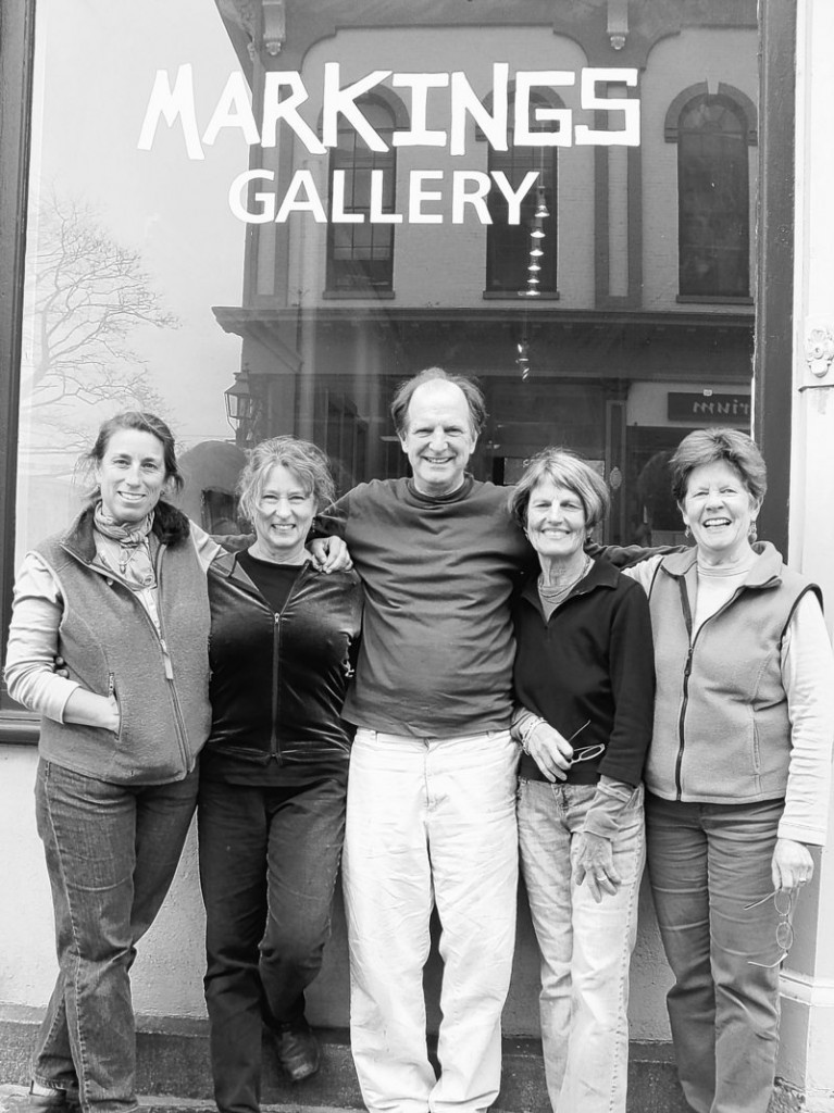 Markings Gallery owners (from left) Nanne Kennedy, Judith Barker, Monty Smith, Nan Kilborn-Tara and Natasha Kempers-Culen.