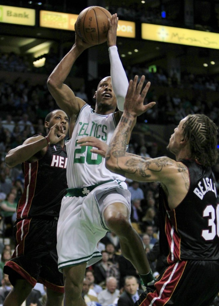 Ray Allen of the Boston Celtics drives against Dorell Wright of the Miami Heat during the second half of the Celtics' series-clinching 96-86 victory Tuesday night in Game 5.
