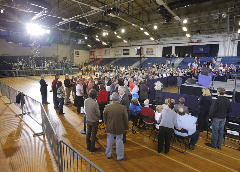 The Portland Expo begins to fill with people prior to the arrival of President Barack Obama today.