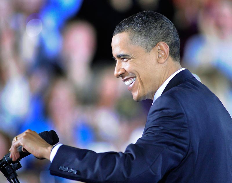 President Barack Obama talks about the health care reform law during his speech at the Expo today.