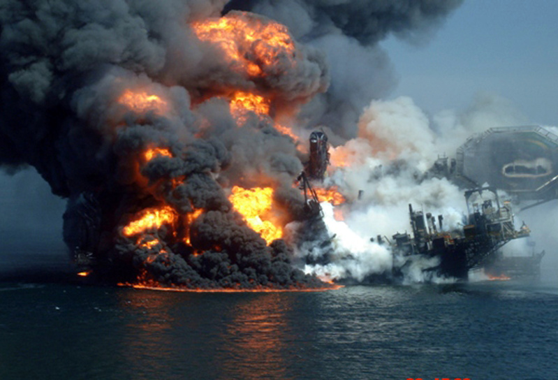 The Deepwater Horizon oil platform burns on April 22 after a massive explosion in the Gulf of Mexico. The rig blew up on April 20, killing 11 people before sinking and triggering an oil spill that has now reached the wetlands in Barataria Bay off Louisiana. A cementing job is suspected as a contributing factor in the disaster.