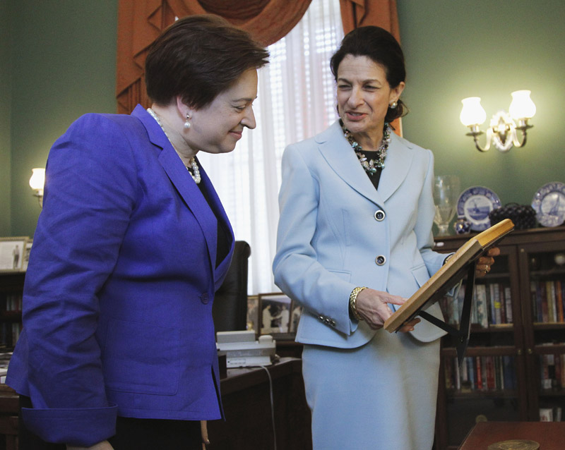 Supreme Court nominee Elena Kagan meets with Sen. Olympia Snowe, R-Maine, on Capitol Hill today.