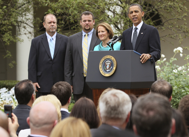 President Obama honors Maine's small-business owners of the year, Tom Sturtevant, left, and Trapper Clark of Alcom, a trailer-making firm. With them is SBA official Karen Mills, of Brunswick. Associated Press Photo