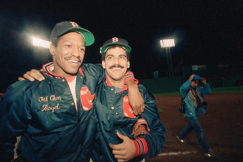 "Dennis ""Oil Can"" Boyd, left, with a teammate, Ed Romero, was the toast of Boston in 1985 and '86 when he totaled 31 wins for the Red Sox and helped them to the World Series in 1986. He never reached those peaks again, but remains a crusader for baseball and independent league teams that promise a chance."