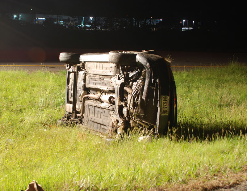 A 2005 Chevrolet Aveo rolled over last night, May 21, 2010 on the Westbrook Arterial. The car's driver, Jana Pooler, was badly injured