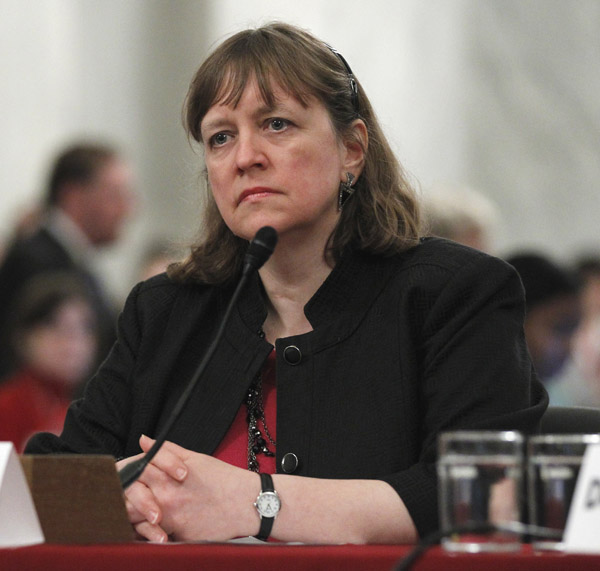 Elizabeth Birnbaum, director of the Minerals Management Service is seen on Capitol Hill in this May 18 file photo.