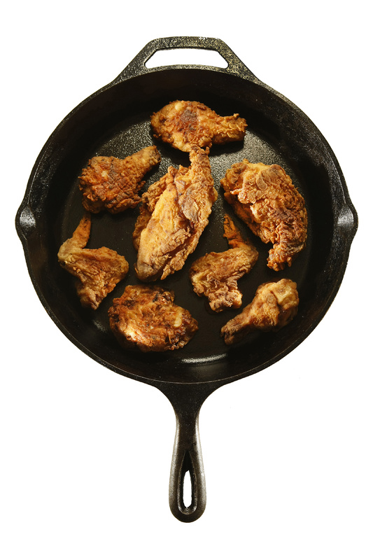 Buttermilk soaked adds a nice tan to pan-fried chicken.