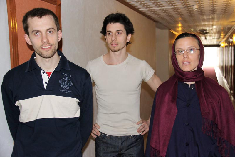 Jailed American hikers Shane Bauer, left, Josh Fattal and Sarah Shourd await a meeting with their mothers in Tehran on Friday. A similar move by Washington toward Iranians in U.S. custody could pave the way for discussions of a prisoner swap.