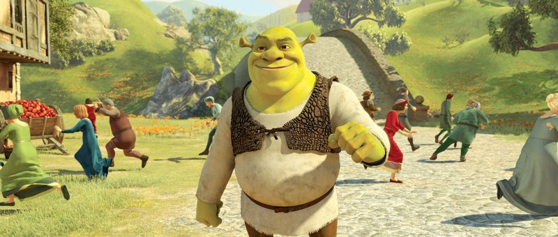 Shrek is voiced by Mike Myers in the 3-D animated