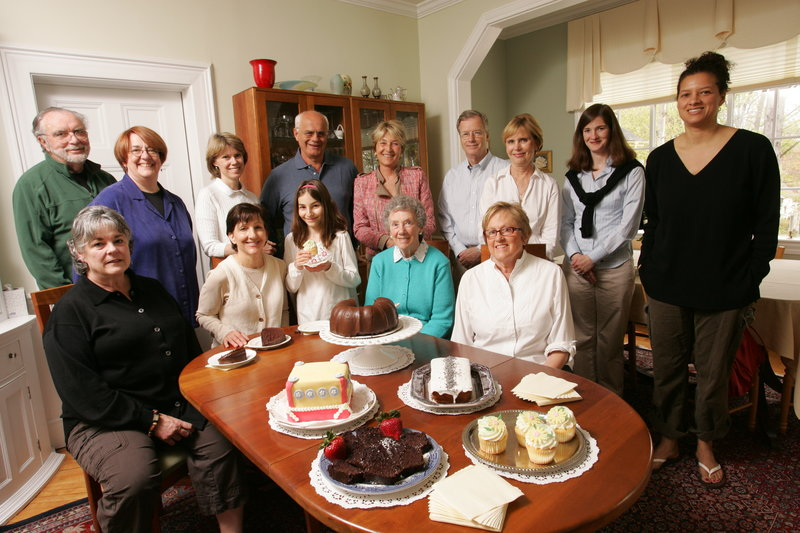 Camden innkeepers and Camden-Rockport Historical Society members gather Sunday afternoon to sample sweets likely to be offered at the premier Cake Walk event Saturday. Intended to be a Mother's Day outing for the entire family, the event will showcase a number of historic inns and a variety of homemade desserts. Pictured are from left, front, Anita Zeno, Dana Fittante and daughter Augusta Rosemary Vogt and Jane Carr; and from left, back, Bill Amidon, Maryanne Shanahan, Nancy Ingraham, Claudio and Roberta Latanza, Dave and Karen Kallstrand, Beth O'Connor and Melissa Carr.