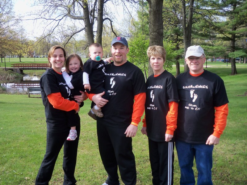 The Soleburners, a family team who recently walked eight miles to raise money for multiple sclerosis. Pictured are Annik Chamberlin, daughter Grace, son Gavin, and her husband, Kevin Chamberlin, all of Connecticut; and Kevin's parents, Pam and Scott Chamberlin of Windham. Pam Chamberlin is one of the nearly 500,000 Americans who are living with MS.