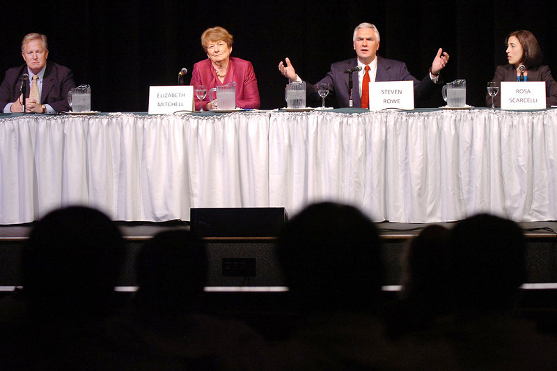 Democratic candidates for governor include, from left, Patrick McGowan, Elizabeth Mitchell, Steven Rowe and Rosa Scarcelli. The four were participating in a gubernatorial primary debate at Husson University in Bangor on Monday evening.