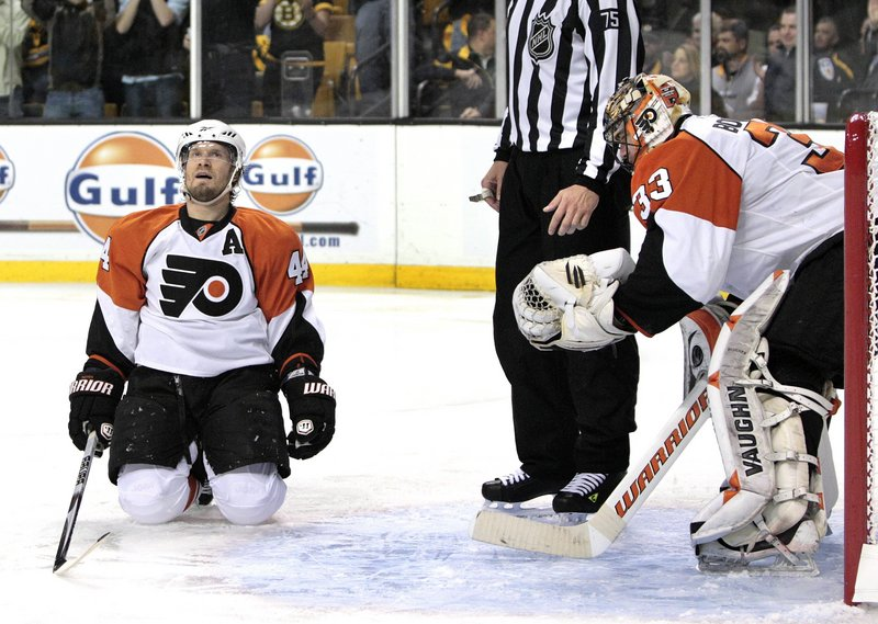 Philadelphia goalie Brian Boucher, who sparked the comeback victory in 2000, will be needed against the Boston Bruins in Game 3 tonight.