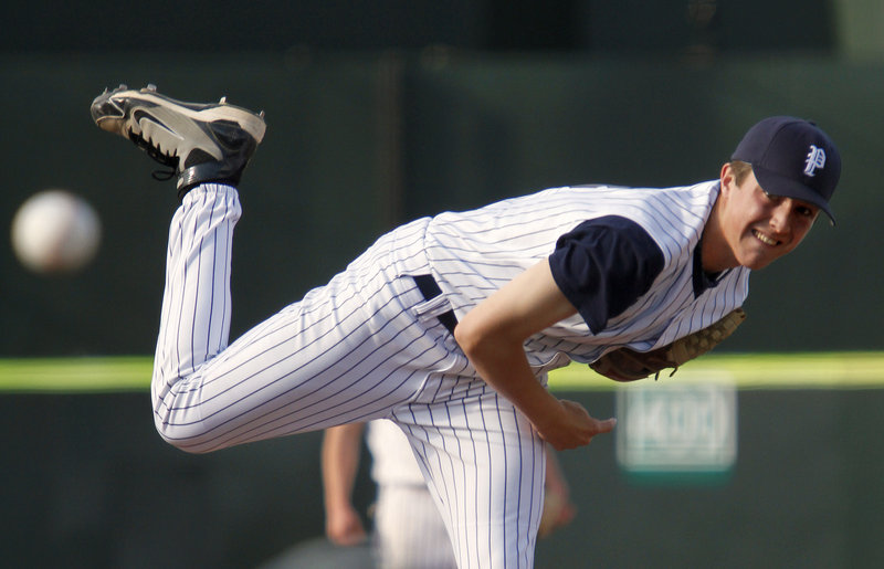 Caleb Fraser, a freshman pitcher for Portland, had a complete game Wednesday for his second victory of the season, holding on through a tough seventh inning for an 8-7 victory against Deering at Hadlock Field.