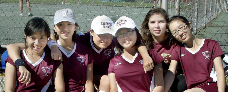 The Thornton Academy junior varsity girls tennis team includes six international students. They are, left to right, Melody Chen, Suzy Sun, Autumn Qiu, Calsi Wang, Daniela Montoya and Rita Miao.