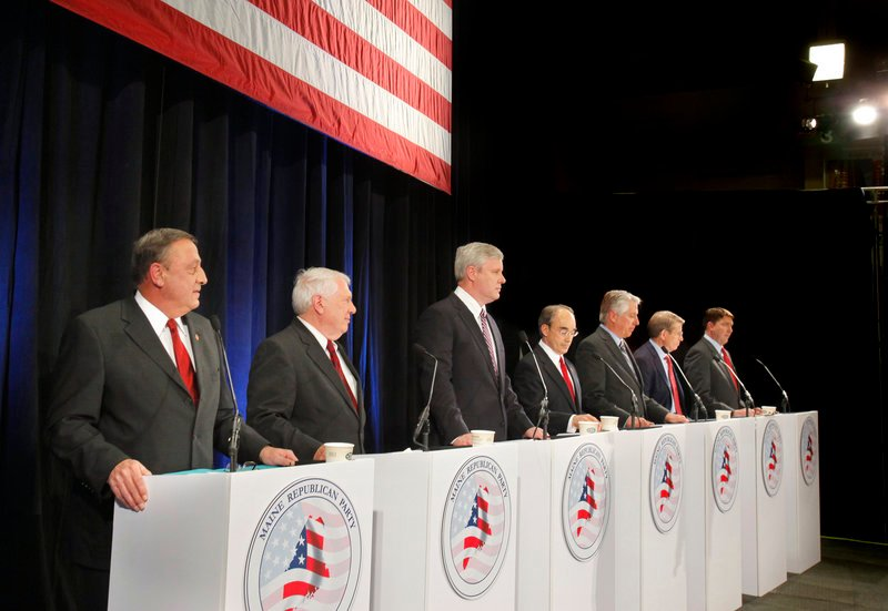 The GOP gubernatorial candidates confronted the issues at a debate at the Portland Expo on Friday. From left are Paul LePage, Bill Beardsley, Steve Abbott, Bruce Poliquin, Les Otten, Peter Mills and Matt Jacobson.