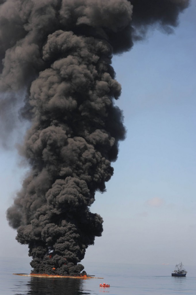 Oil burns during a controlled fire to stop its spread in the Gulf of Mexico on Thursday.