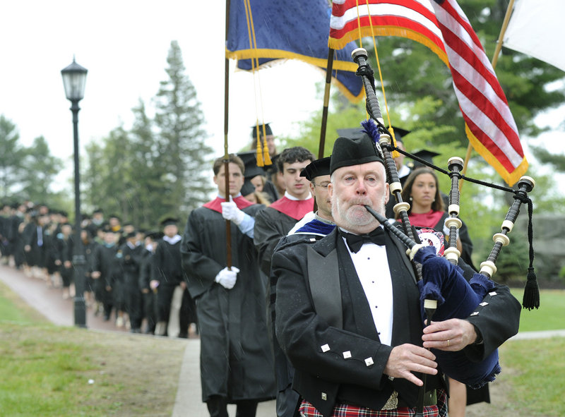 Bob Gillis of Old Orchard Beach leads the procession of graduates.