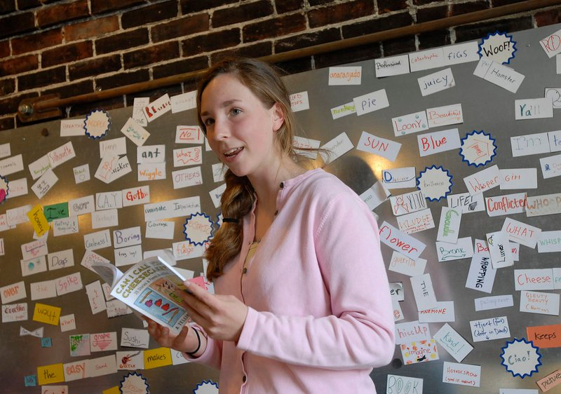 """Emily Hollyday, 17, of Cape Elizabeth, above, reads her piece, """"Cantaloupe,"""" at the Telling Room. Below, Lee Reh, 20, of Portland High School reads """"Bamboo and Rattan."""""""