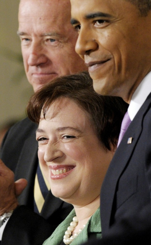 Elena Kagan is flanked by President Obama and Vice President Biden on Monday at the White House.