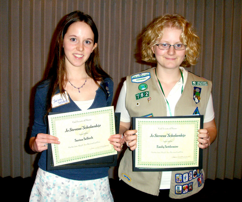 Graduating Girl Scouts Sarina Selleck, left, of Portland and Emily Settlemire of Warren received the Jo Stevens Award. To qualify for this award, Selleck and Settlemire had to write an essay explaining how their experience in Girl Scouts have influenced their career plans and goals.