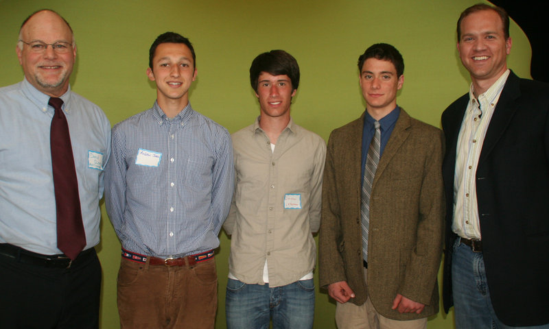 Three student poets earned top honors at the Third annual Merriconeag Poetry Festival at the Merriconeag Waldorf School. From left are festival organizer David Sloan, with third place winner Andrew Jones of Scarborough High, first place winner Christian Letourneau of Thornton Academy, second place winner Zak Konstantine of Merriconeag and festival judge Gibson Fay-LeBlanc.