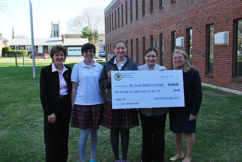 From left: McAuley High School Guidance Director Marie Eschner, Key Club President Samantha Robertson, Salvage Ball coordinator Jolie Thomas, public relations and events coordinator for Good Shepherd Food Bank Melissa Dean and Key Club moderator Jill Cote.