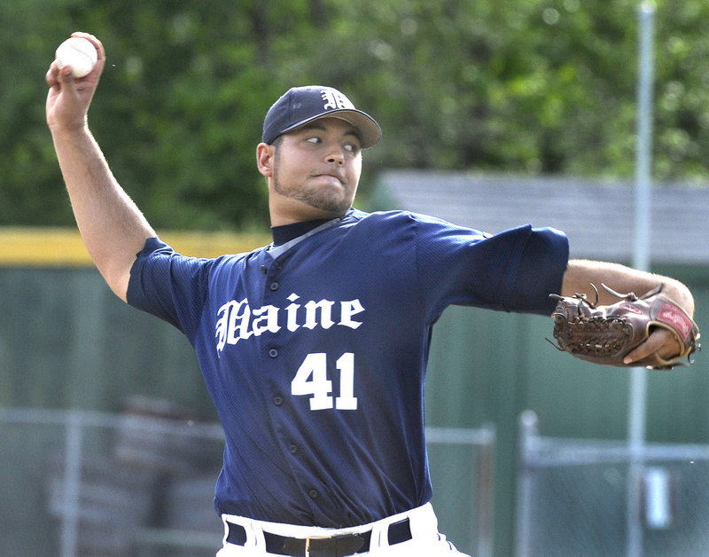 John Patriquin/Staff Photographer Maine starter Matt Jebb delivers a pitch in Tuesday's game against Northeastern at Goodall Park in Sanford. Jebb allowed two runs in seven innings and was not involved in the decision as Maine rallied for an 8-3 win.