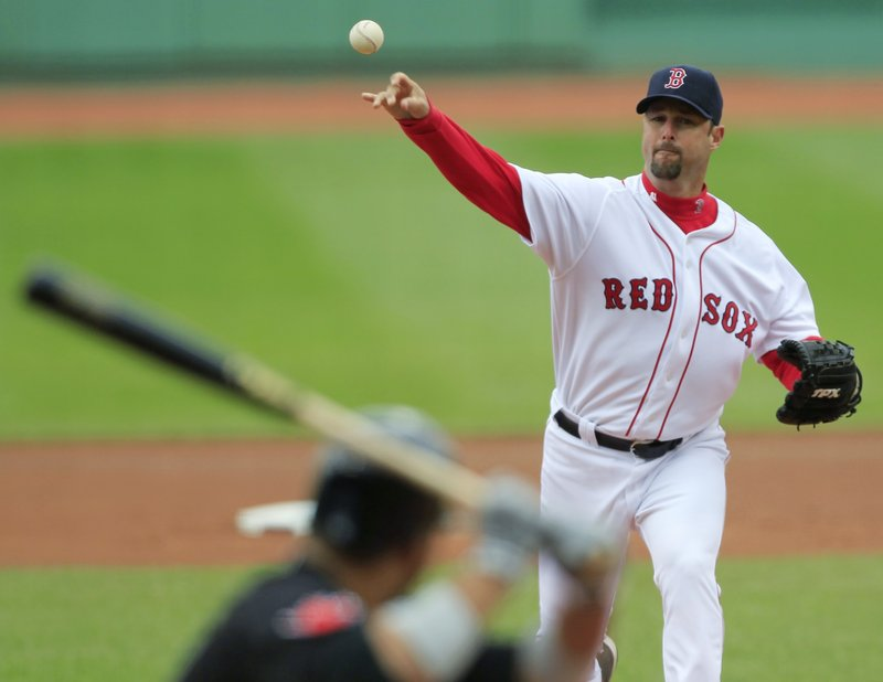 Tim Wakefield (0-2), in the starting rotation because Josh Beckett was pushed back because of back spasms, gave up three runs and five hits in seven innings on Wednesday.