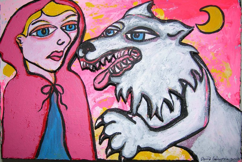 """David Cedrone's view of """"Little Red Riding Hood"""" in acrylic on paper and wood"""