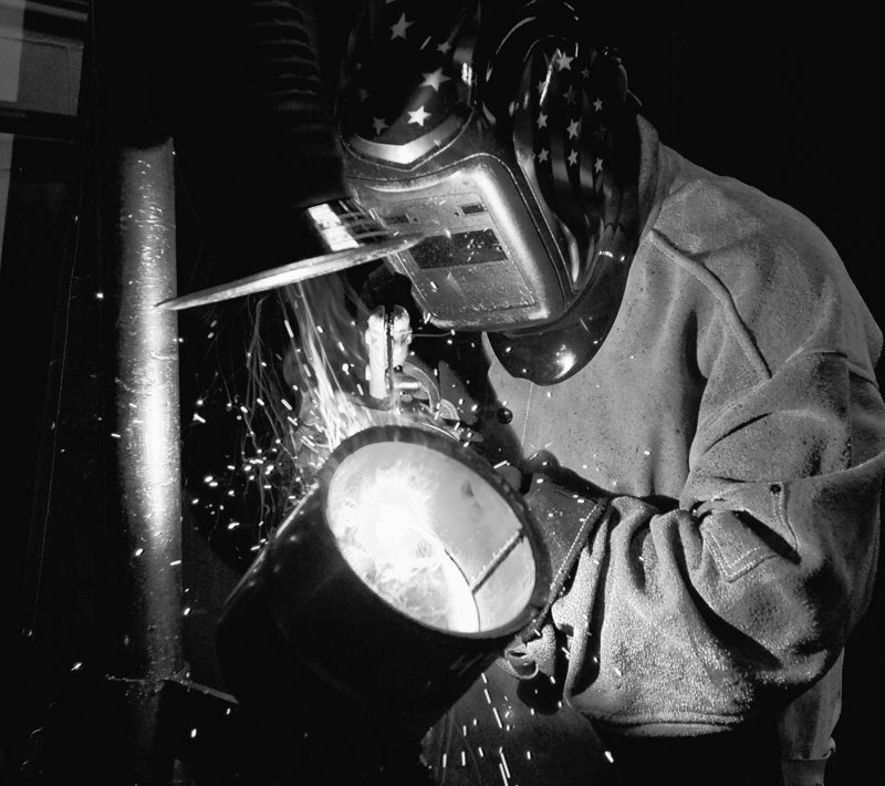 Travis Wainscott, 17, practices his arc welding techniques at the Columbia Area Career Center certified welding program in Missouri.