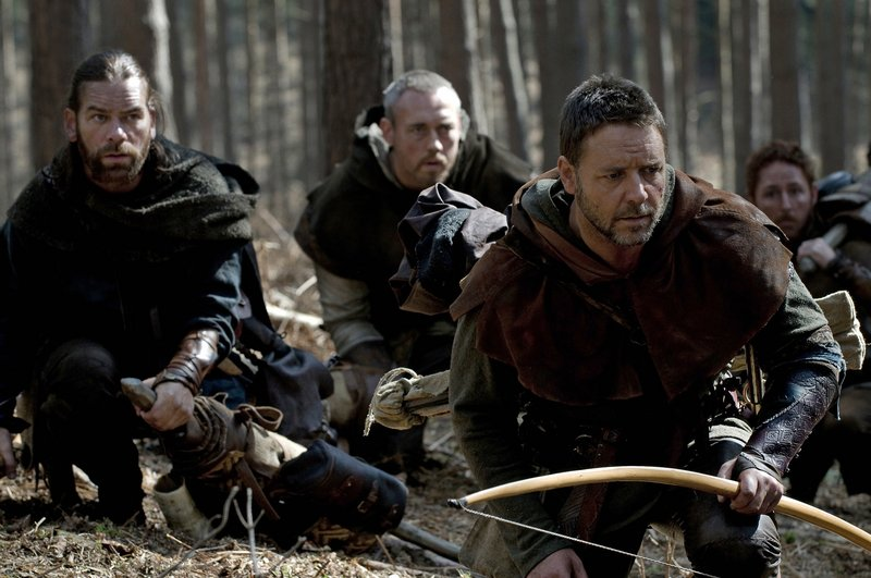 Russell Crowe is shown as English outlaw Robin Hood with his Merry Men in a scene from the movie from director Ridley Scott released by Universal Pictures.