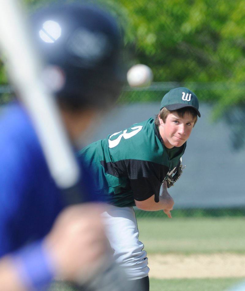 Charlie Laprade of Waynflete delivers a pitch during a 3-2 win over Old Orchard Beach in a Western Maine Conference game Monday. Laprade allowed four hits in six innings.