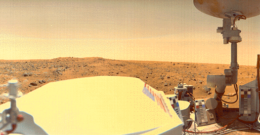 """The Viking I lander overlooks the Chryse Planitia on Mars in this image provided by NASA. Despite recent evidence of ice on the planet, there is still no answer as to whether life ever existed there. """"You can't blame people for being interested in this,"""" says UCLA planetary scientist David Paige."""