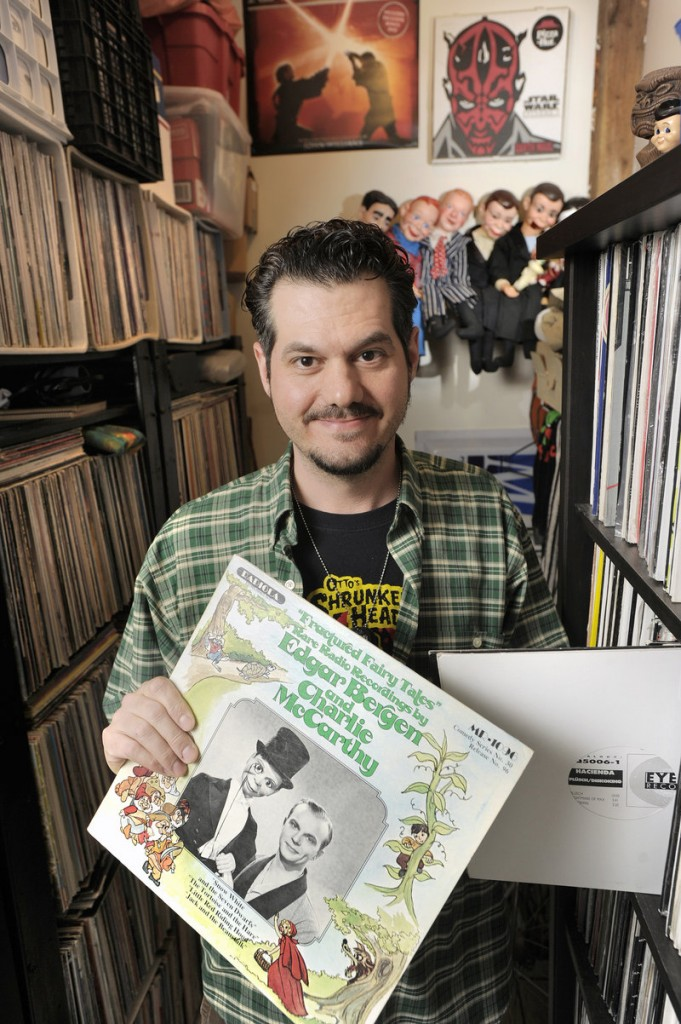 "Shawn Lawrence owns Sounds Absurd LPs and 45s on Oak Street in Portland. The store offers used records, some reissues and ""a lot of older stuff that's still sealed."""