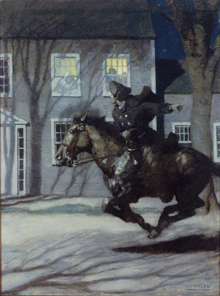 "The Farnsworth Art Museum in Rockland is displaying the works of three generations of Wyeths in two exhibitions, including ""Paul Revere's Ride"" by N.C. Wyeth, 1922, oil on panel."