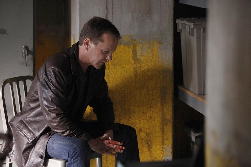 "Kiefer Sutherland as Jack Bauer is shown in a scene from the two-hour series finale of ""24,"" to air Monday. As the series closes, Bauer is gunning his way up the Russian hierarchy to punish all those responsible for killing his girlfriend."