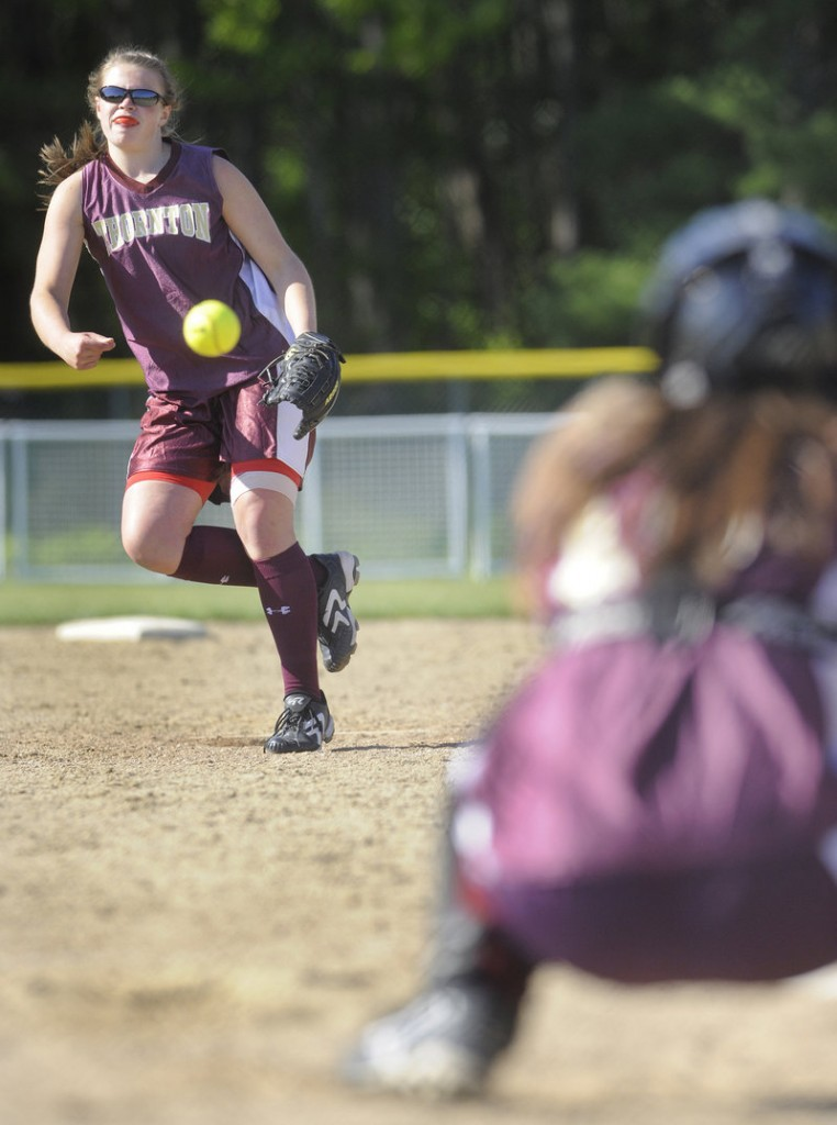 Julia Geaumont of Thornton Academy delivers a pitch to a McAuley batter in Friday's game at Saco. Geaumont had a three-run homer in Thornton's 11-10 win.