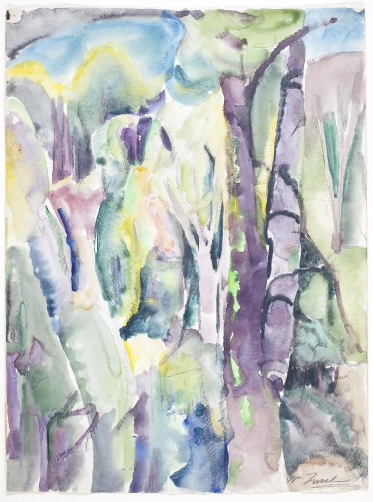 Untitled (unfinished sketch of trees) by William Zorach, circa 1917, watercolor over graphite.