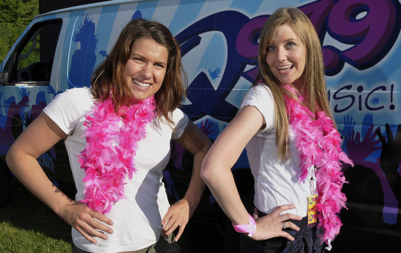 """Lindsey Bourget, left, and Stephanie Berry, """"Street Teamers"""" for WJBQ Radio, ham it up as two young divas after they gave out the winning tickets to the Diva Event in Saco at Cinemagic's opening night of """"Sex in the City 2."""""""