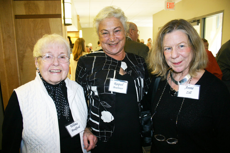 Wilma Bradford, Raquel Boehmer and Anne Zill, director of the University of New England Art Gallery.