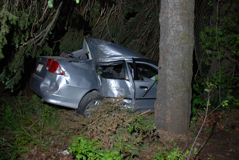 Derek Miller of Naples is being treated at Maine Medical Center for serious injuries after the car he was driving on Route 302 near Corsetti's Market crashed into a tree this morning, police said.